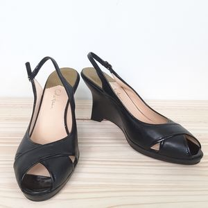 Cole Haan Nike Air Black Open Toe Wedge  Shoes 9.5